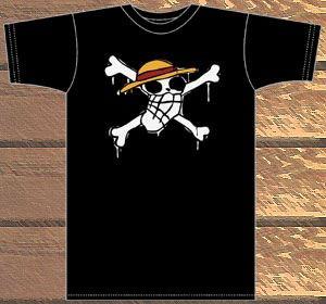 【クリックでお店のこの商品のページへ】From TV animation ワンピース ルフィの海賊旗Tシャツ/ブラック-L[コスパ]《在庫切れ》