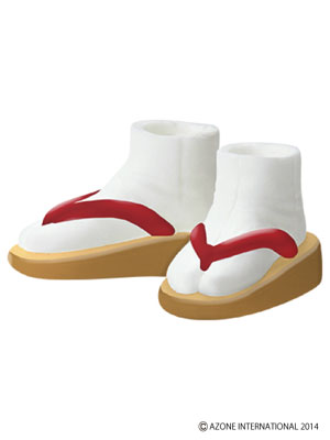 ピュアニーモMサイズ ソフビ製草履 ベージュ×赤(ドール用衣装)(再販)[アゾン]《発売済・在庫品》