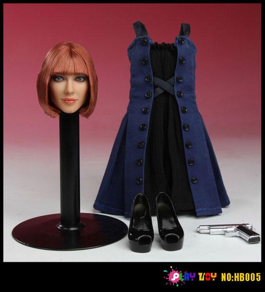 1/6スケール 植毛タイプ女性ヘッド&アウトフィットセット ドレス(HB005)(ドール用衣装)[PLAY TOY]《在庫切れ》