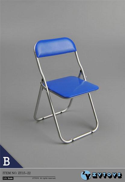 1/6 折りたたみ椅子 (ブルー/シルバーフレームワーク)(ZY15-22B)[ZY-TOYS]《在庫切れ》