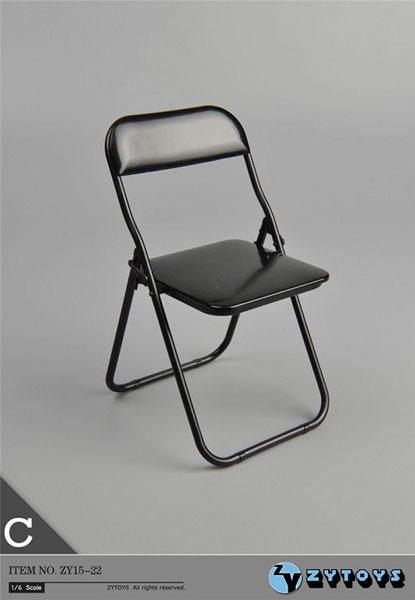 1/6 折りたたみ椅子 (ブラック/ブラックフレームワーク)(ZY15-22C)[ZY-TOYS]《在庫切れ》