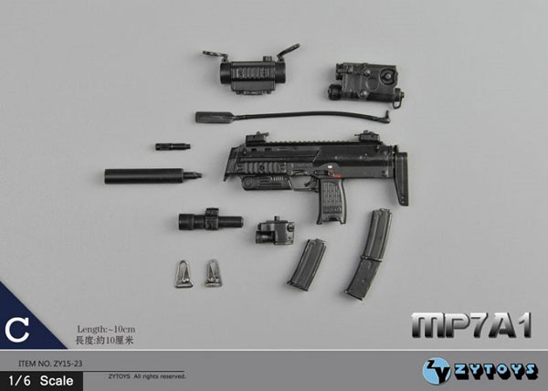 1/6 H&K MP7A1 サブマシンガン C (ZY15-23C)[ZY-TOYS]《在庫切れ》