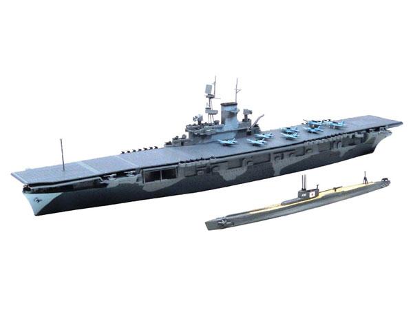 1/700 ウォーターライン 米国海軍航空母艦WASP(ワスプ)&日本海軍潜水艦 伊19 プラモデル[アオシマ]《取り寄せ※暫定》