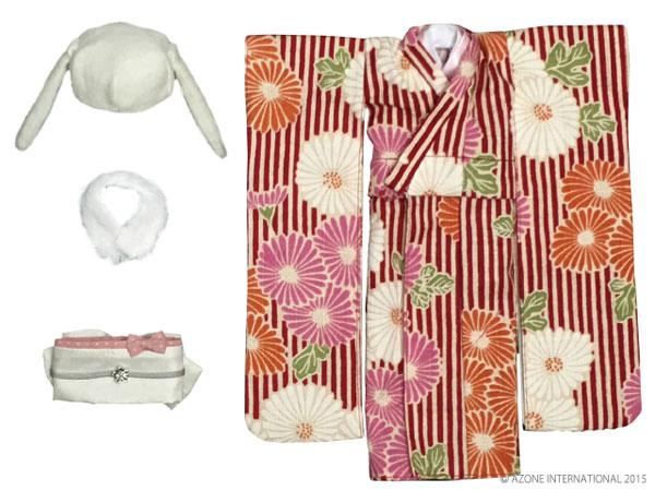 ピュアニーモサイズ PNSモダンどうぶつ着物セット 紅緋×白兎(ドール用衣装)[アゾン]《在庫切れ》
