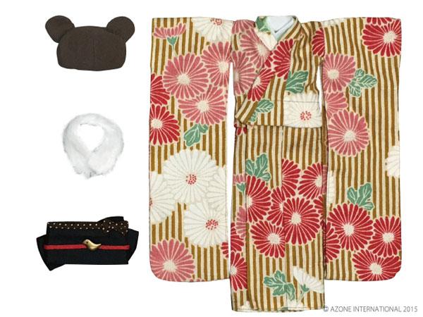 ピュアニーモサイズ PNSモダンどうぶつ着物セット 山吹×茶くま(ドール用衣装)[アゾン]《発売済・在庫品》