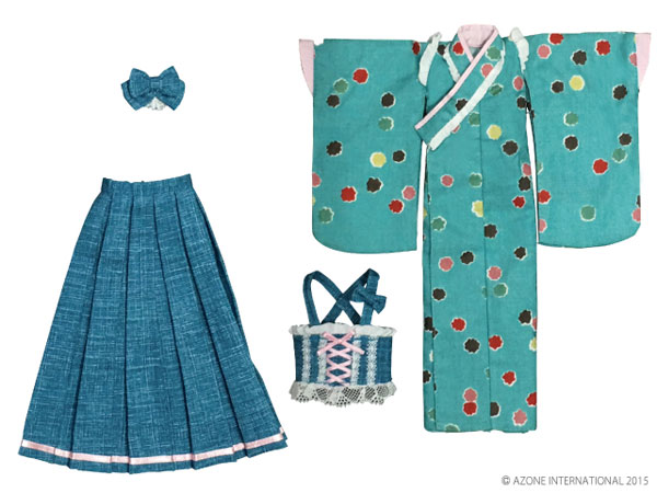 ピュアニーモサイズ PNMはいから着物・袴セット~こんぺいとう~ あさぎ(ドール用衣装)[アゾン]《発売済・在庫品》