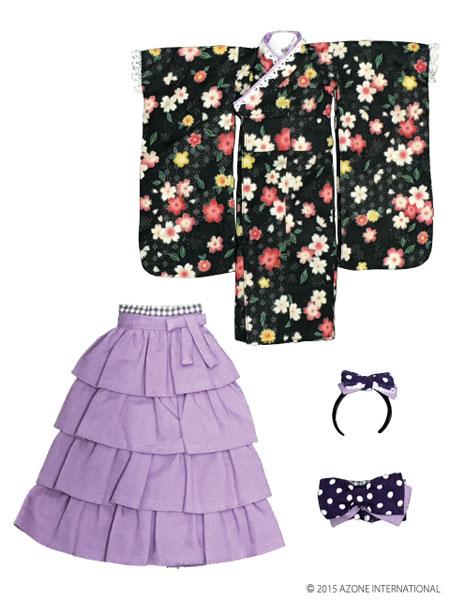 ピュアニーモサイズ PNXS女の子着物・フリル袴セット~雛桜~ 墨色(ドール用衣装)[アゾン]《発売済・在庫品》