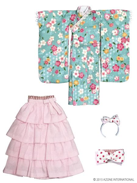 ピュアニーモサイズ PNXS女の子着物・フリル袴セット~雛桜~ 翡翠色(ドール用衣装)[アゾン]《在庫切れ》