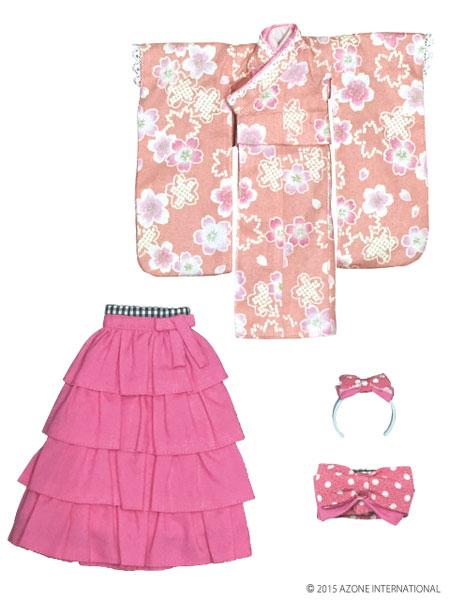 ピュアニーモサイズ PNXS女の子着物・フリル袴セット~雛桜~ 桃色(ドール用衣装)[アゾン]《取り寄せ※暫定》