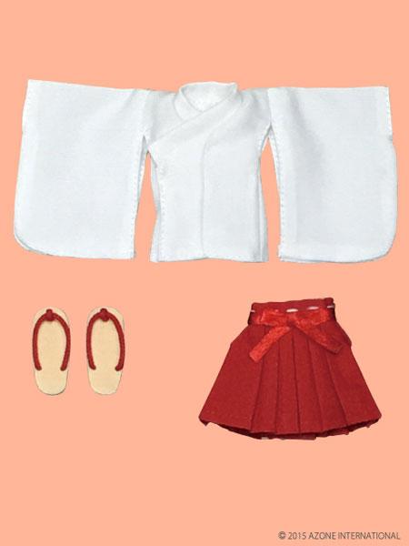 ピコニーモサイズ 1/12 ピコDミニ丈巫女服セット 白×赤(ドール用衣装)[アゾン]《取り寄せ※暫定》