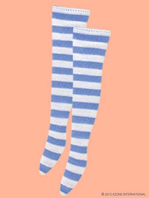 ピュアニーモサイズ PNMアリスボーダーニーソックス ライトブルー×ホワイト(ドール用衣装)[アゾン]《発売済・在庫品》
