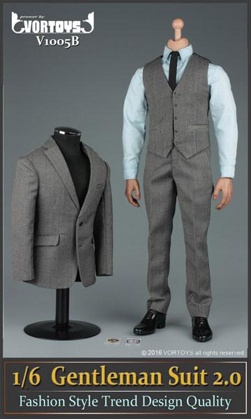 1/6 ジェントルマン スーツ セット 2.0 グレー(ドール用衣装)[VORTOYS]《在庫切れ》