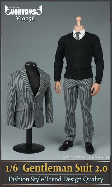 1/6 ジェントルマン スーツ セット 2.0 ストライプ(ドール用衣装)[VORTOYS]《在庫切れ》