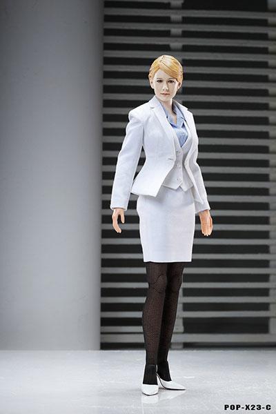 1/6 オフィスレディ ビジネススーツ セット C ホワイト (ドール用衣装)[POP Toys]《在庫切れ》
