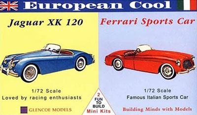 1/72 ヨーロピアン クール ジャガーXK120/フェラーリスポーツカー(2台セット) プラモデル(再販)[グレンコモデル]《07月予約※暫定》