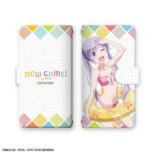 TVアニメ「NEW GAME!」ブックスタイルスマホケース デザイン01(涼風青葉/水着ver.)(再販)[ライセンスエージェント]《在庫切れ》