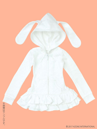 48cm/50cm用 AZO2うさみみパーカーワンピ ホワイト (ドール用衣装)[アゾン]《在庫切れ》