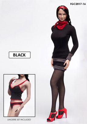 1/6 フィメール キャラクターセット ミステリーガール ドレス ブラック(ドール用衣装)[FLIRTY GIRL]《在庫切れ》