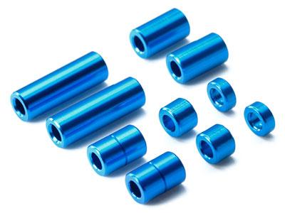 ミニ四駆特別企画 アルミスペーサーセット(12/6.7/6/3/1.5mm各2個)(ブルー)[タミヤ]《発売済・在庫品》