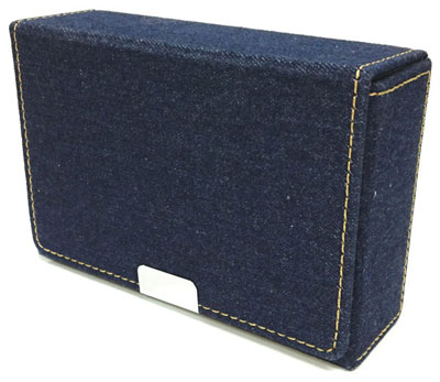デニム製スリムカードケース(ネイビー)
