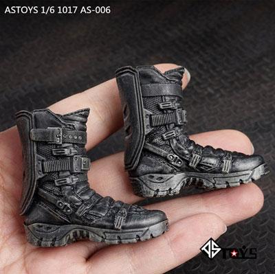 1/6 タクティカルブーツ (ブラック) (ジョイント付属 /ウェザリング有り) (ドール用)[AS Toys]《在庫切れ》