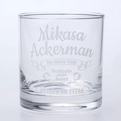 【限定販売】進撃の巨人 オリジナルロックグラス ミカサ[ユニオンクリエイティブ]《発売済・在庫品》