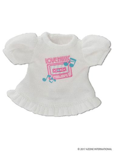 KIKIPOP!用 きのこプラネット「LOVE・Tシャツ」 ホワイト (ドール用)[アゾン]《取り寄せ※暫定》