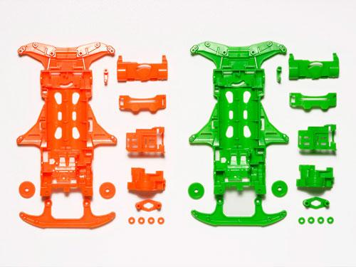 ミニ四駆特別企画 VS蛍光カラーシャーシセット (オレンジ/グリーン)[タミヤ]《発売済・在庫品》