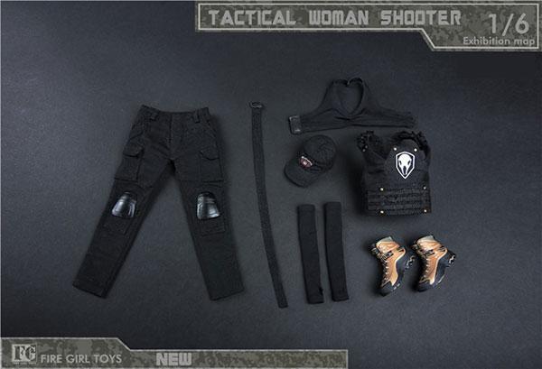 1/6女性狙撃手用タクティカルコスチューム セットB ブラック (ドール用)[Fire Girl]《01月仮予約》