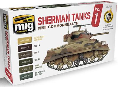 シャーマン戦車 カラーセット Vol.1 WW.II イギリス連邦[アモ]《在庫切れ》