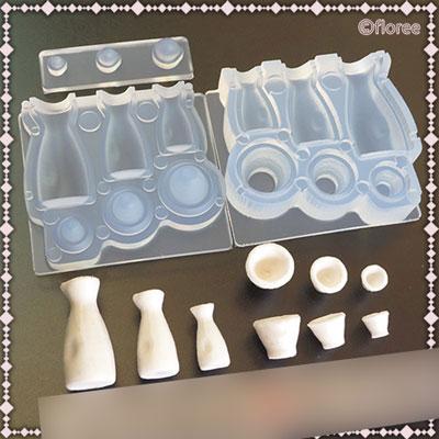 Soft mold シリコーン製 ミニチュアシリーズ C-663 酒器セット(とっくり&おちょこ)[亀島商店]《在庫切れ》