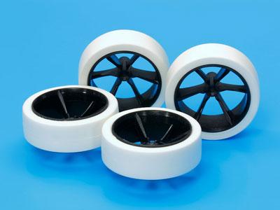 ミニ四駆特別企画 ハード大径ローハイトタイヤ&カーボン強化6本スポークホイール[タミヤ]《発売済・在庫品》
