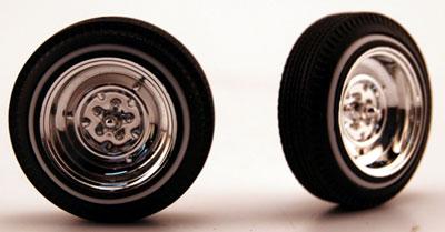 """1/24 """"リバース""""ホイールクロームメッキ仕様 タイヤ付4本セット(再販)[ペガサスホビー]《04月予約※暫定》"""