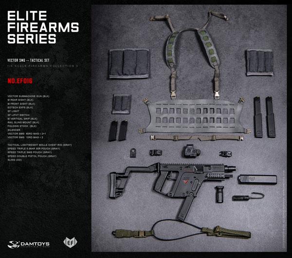 1/6 エリートファイヤーアームズシリーズ 3 ベクターSMG タクティカル セット BLK/GRAY[DAMTOYS]《04月仮予約》