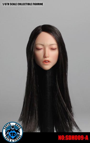 1/6 アジア女性ヘッド 009 瞳閉じ 黒髪 ロングストレート[Super Duck]《在庫切れ》