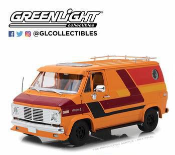 1/18 1976 Chevy G-Series Van - Orange with Custom Graphics