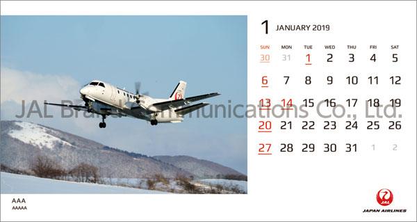 JAL「FLEET」(卓上判) 2019年カレンダー