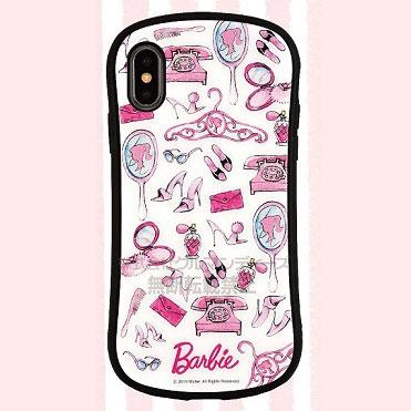 バービー iPhone Xs/X 対応 ハイブリッドガラスケース アイコン (BAR-02B)