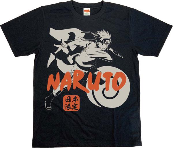 NARUTO -ナルト- 疾風伝 日本限定ボトルTシャツ ナルト 黒 S