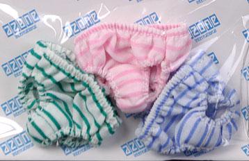 27cmドール用 ナチュラルショーツセット ストライプセット グリーン&ピンク&ブルー(ドール用衣装)(10年2月分)