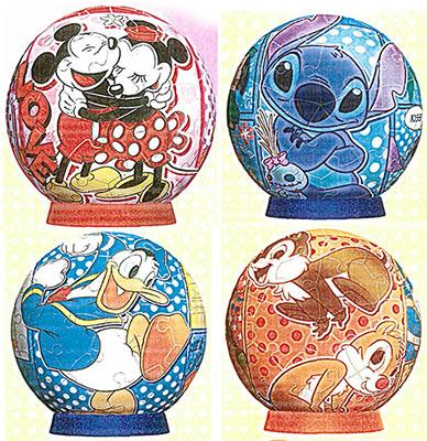 ジグソー 3D球体パズル ディズニーシリーズ コミック 3インチ/60ピース 4種セット(2003-367~370)[やのまん]《在庫切れ》