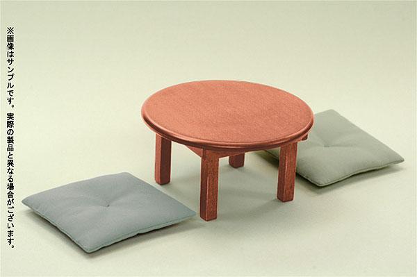 ドールサイズ家具 木製ちゃぶ台セット(茶色) 座布団二枚付(うぐいす色)[アゾン]《在庫切れ》
