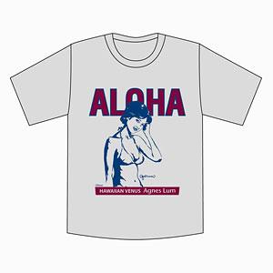 アグネス・ラム ALOHA+イラスト Tシャツ/グレー-M[キューティーズ]《在庫切れ》