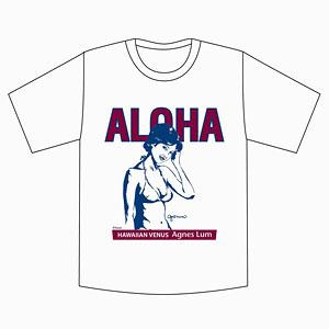 アグネス・ラム ALOHA+イラスト Tシャツ/ホワイト-L[キューティーズ]《在庫切れ》