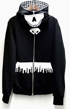 闇金ウシジマくん スカルフェイス フルジップパーカー/ブラック×ホワイト-XL[ダイブ]《在庫切れ》