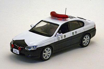 完成品モデルカー 1/43 スバル レガシィ B4 2.0i 2002 山形県警察所轄署警ら車両(酒28)[ヒコセブン]《在庫切れ》