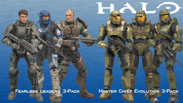 HALO(ヘイロー) 10周年記念アクションフィギュア 3体入りパック 2種セット[マクファーレントイズ]《在庫切れ》