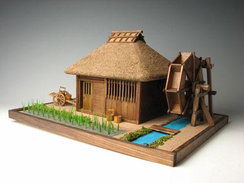 木製建築模型 みちのく水車小屋(再販)[小林工芸]《在庫切れ》