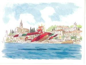 スタジオジブリ 紅の豚 グリーティングカード 水彩画シリーズ[ムービック]《在庫切れ》