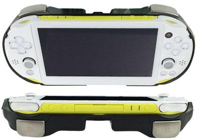 PS Vita(PCH-2000)用 L2/R2ボタン搭載 グリップカバー(ブラック)[上越電子工業]《在庫切れ》